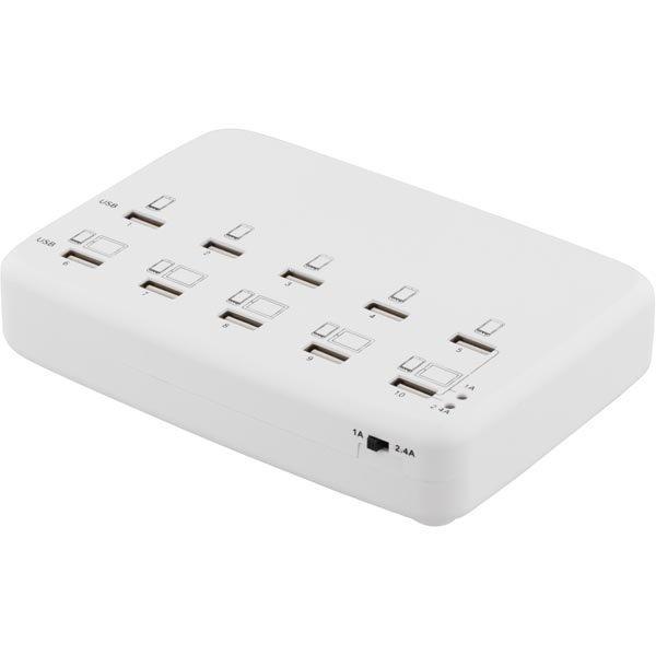 10-porttinen USB-laturi 100-210V 5V 1A x10 5V 2 4A x5 60W valk