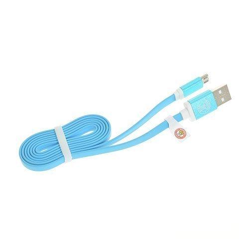 1m Litteä Mikro Usb Kaapeli Tableteille Ja Älypuhelimille Sininen
