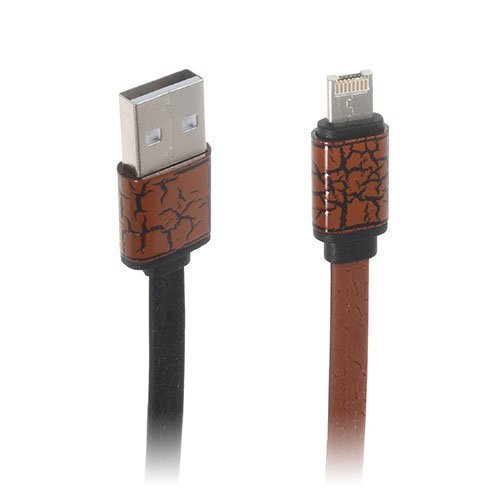 2-In-1 Micro Usb Data Latauskaapeli Iphone Samsung Laitteille Ruskea
