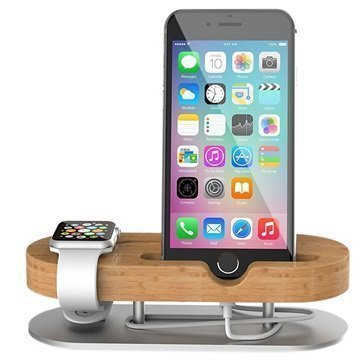 2-in-1 Bamboo Charging Stand for Apple Watch & iPhone