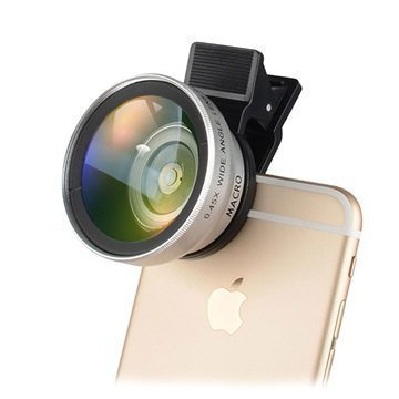 2-in-1 Universal Clip Camera Lens Silver
