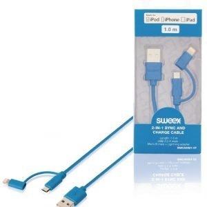 2-in-1-synkronointi- ja latauskaapeli USB 2.0 A -urosliitin Micro B -urosliitin Lightning-sovitin liitettynä 1 00 m sininen