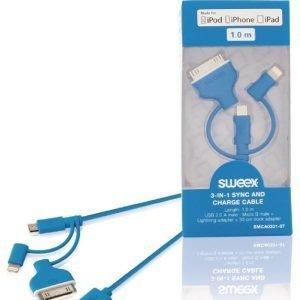 3-in-1-synkronointi- ja latauskaapeli USB 2.0 A -urosliitin Micro B -urosliitin Lightning-sovitin ja 30-nastainen telakkasovitin liitettynä 1 00 m sininen