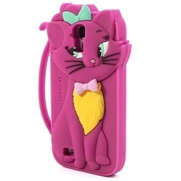 3D Cat Silikoninen Suojakuori Samsung Galaxy S4 I9500 I9505 I9502 Kuuma Pinkki