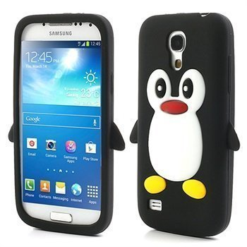 3D Penguin Silikoni Kotelo Samsung Galaxy S4 mini I9190 I9192 I9195 Musta