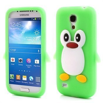 3D Penguin Silikoni Kotelo Samsung Galaxy S4 mini I9190 I9192 I9195 Vihreä