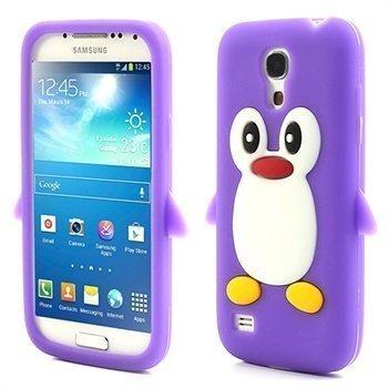 3D Penguin Silikoni Kotelo Samsung Galaxy S4 mini I9190 I9192 I9195 Violetti