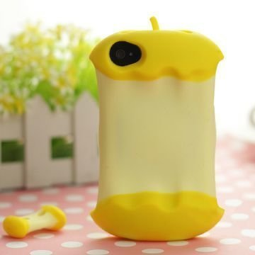 3d Apple Keltainen Iphone 4 / 4s Silikonikuori