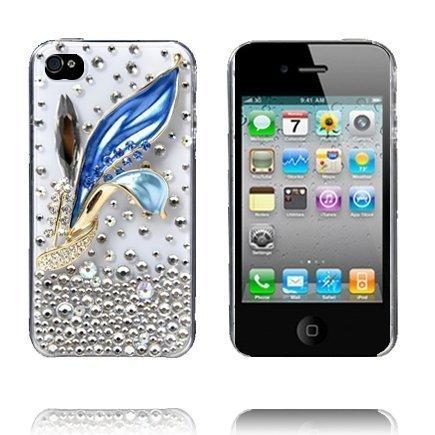 3d Blingbling Sininen Kukka Iphone 4 Suojakuori