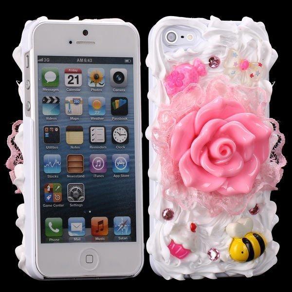 3d Cuties Ceramic Pinkki Kukka Iphone 5 Suojakuori