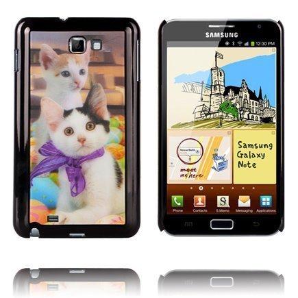 3d Effect Kaksi Kissaa Samsung Galaxy Note Suojakuori