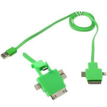 4 in 1 USB-kaapeli Lightning 30-nastainen MicroUSB 2.0 MicroUSB 3.0 Vihreä