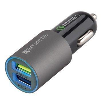 4smarts Rapid QC3.0 Kaksois-USB Pika-Autolaturi 6A Harmaa