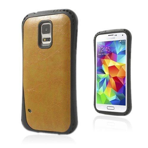 Abell Keltainen Samsung Galaxy S5 Nahkapäällystetty Suojakuori