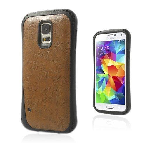 Abell Ruskea Samsung Galaxy S5 Nahkapäällystetty Suojakuori
