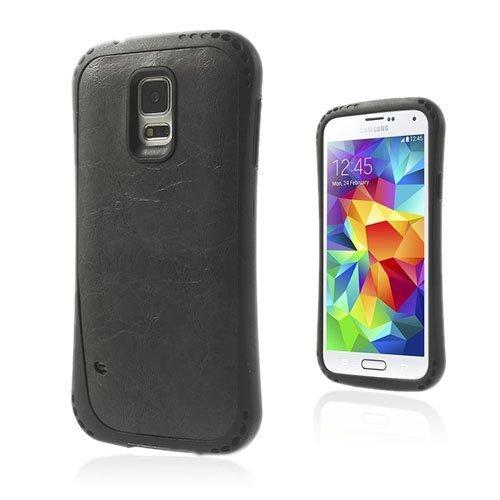Abell Tumma Harmaa Samsung Galaxy S5 Nahkapäällystetty Suojakuori