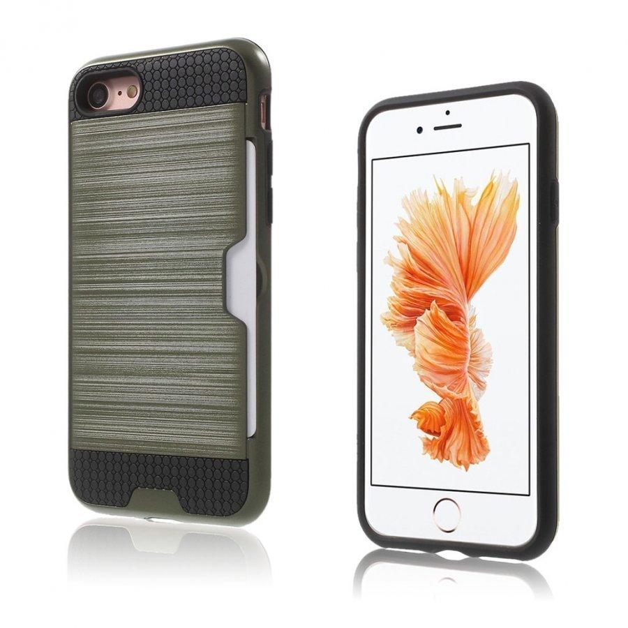 Absalon Iphone 7 Harjattu Joustava Hybridi Kuori Armeijan Vihreä