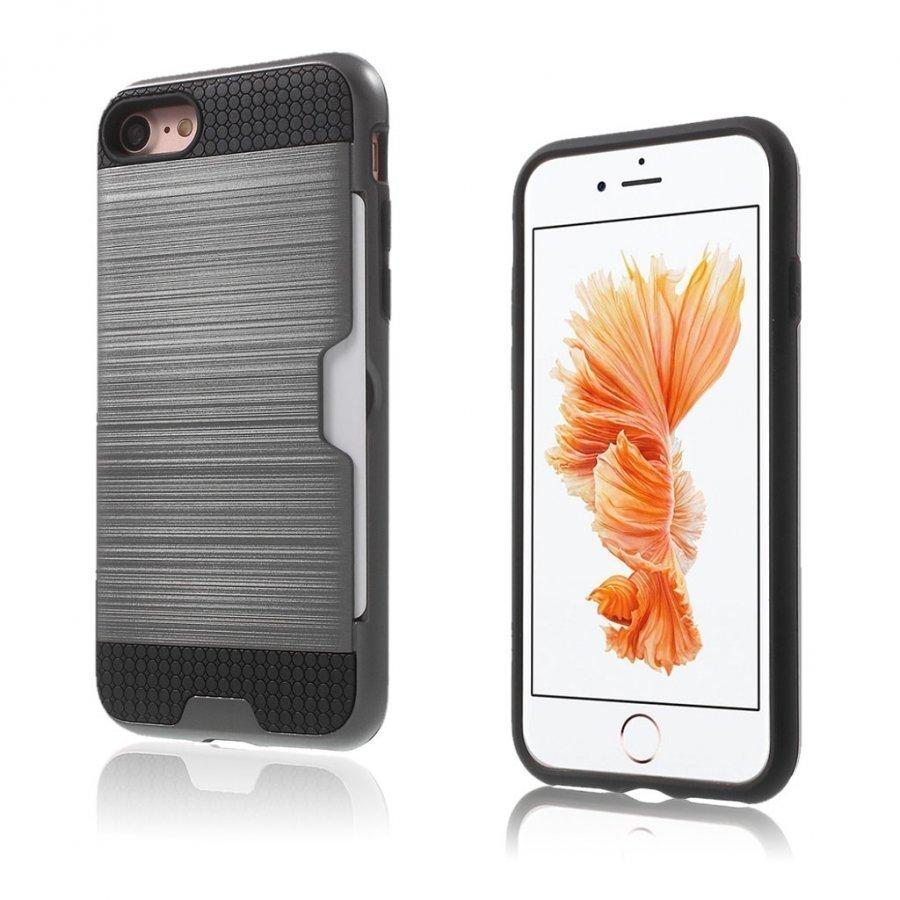 Absalon Iphone 7 Harjattu Joustava Hybridi Kuori Harmaa