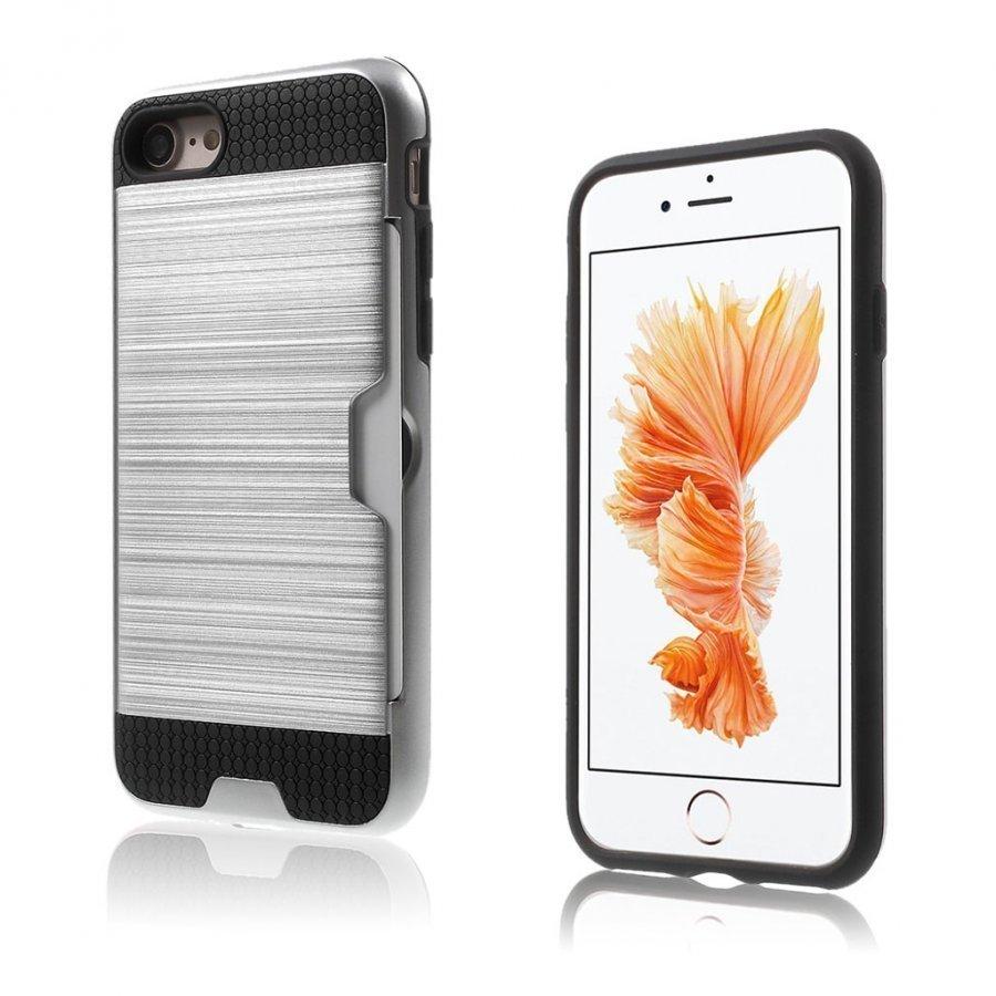 Absalon Iphone 7 Harjattu Joustava Hybridi Kuori Hopea