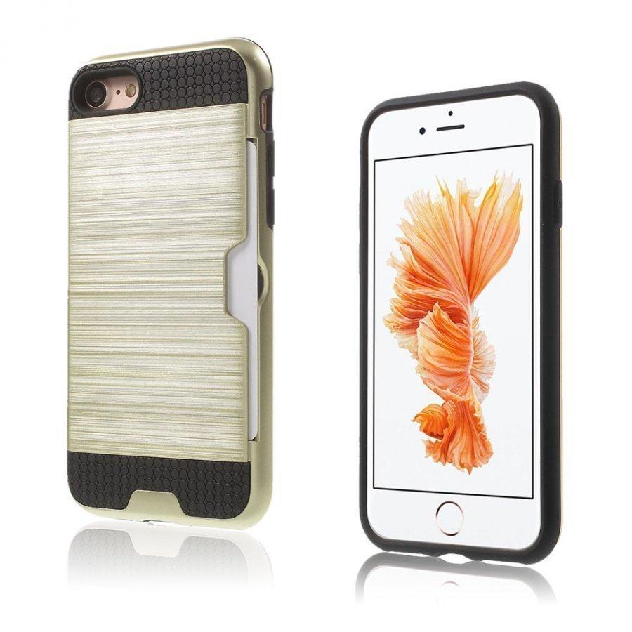 Absalon Iphone 7 Harjattu Joustava Hybridi Kuori Kulta