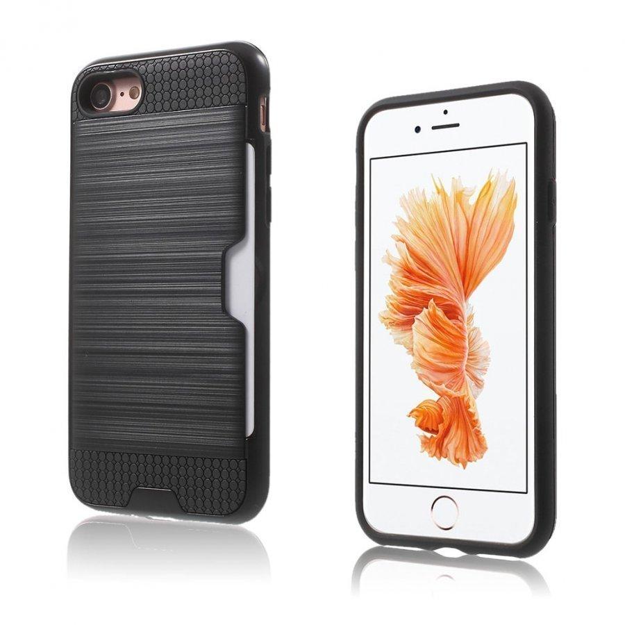Absalon Iphone 7 Harjattu Joustava Hybridi Kuori Musta