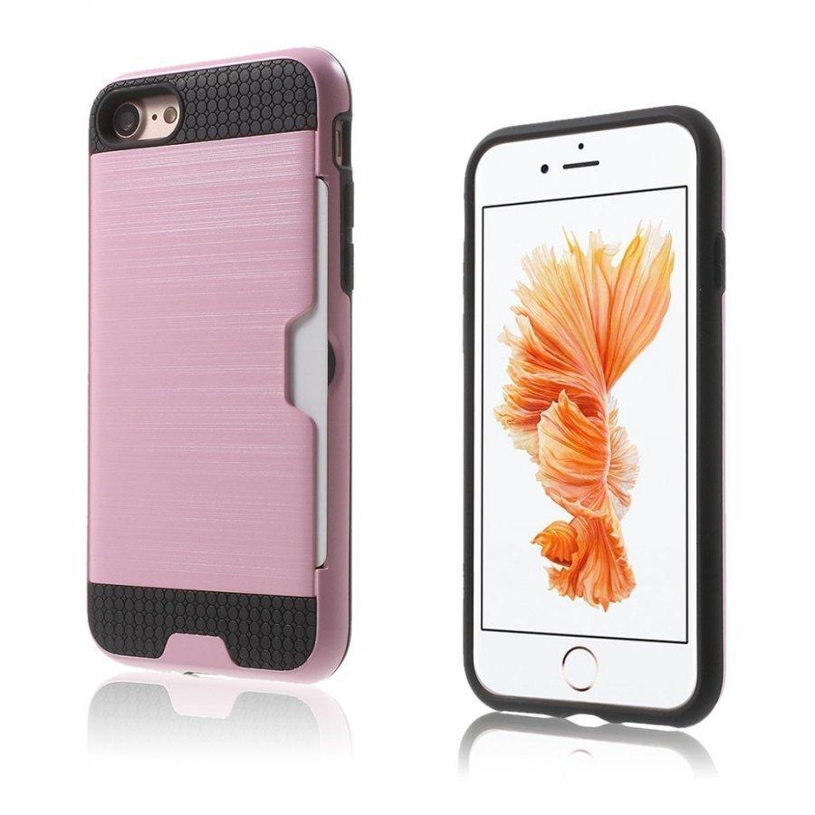 Absalon Iphone 7 Harjattu Joustava Hybridi Kuori Pinkki
