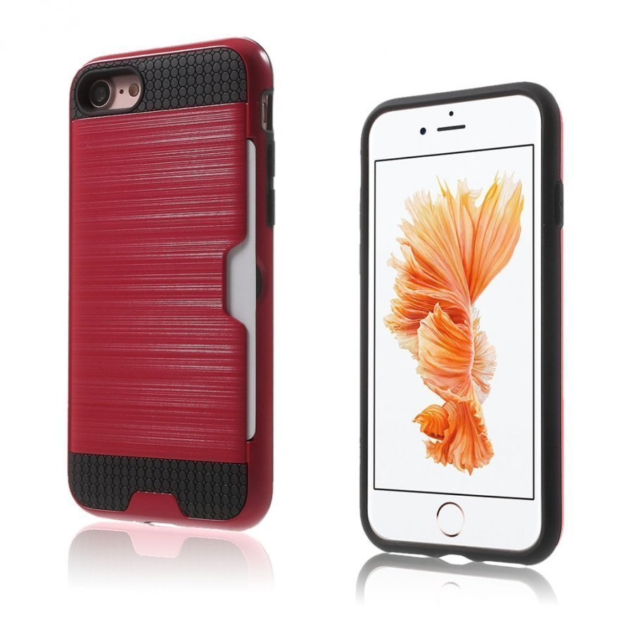Absalon Iphone 7 Harjattu Joustava Hybridi Kuori Punainen