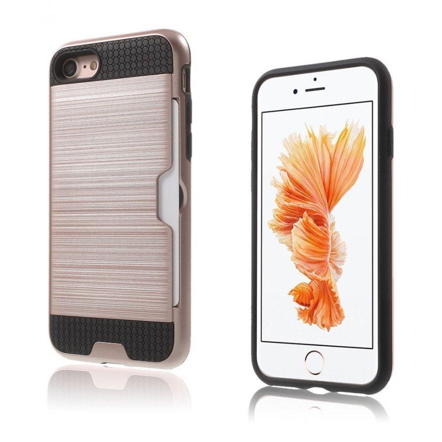 Absalon Iphone 7 Harjattu Joustava Hybridi Kuori Rosee Kulta