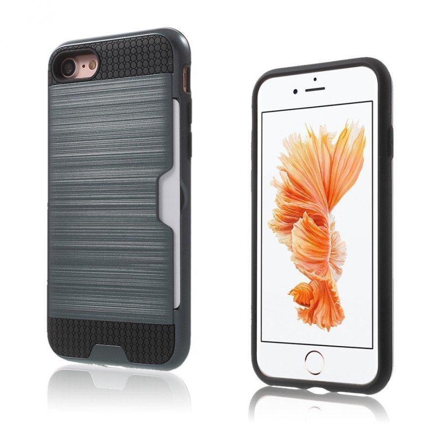 Absalon Iphone 7 Harjattu Joustava Hybridi Kuori Tummansininen