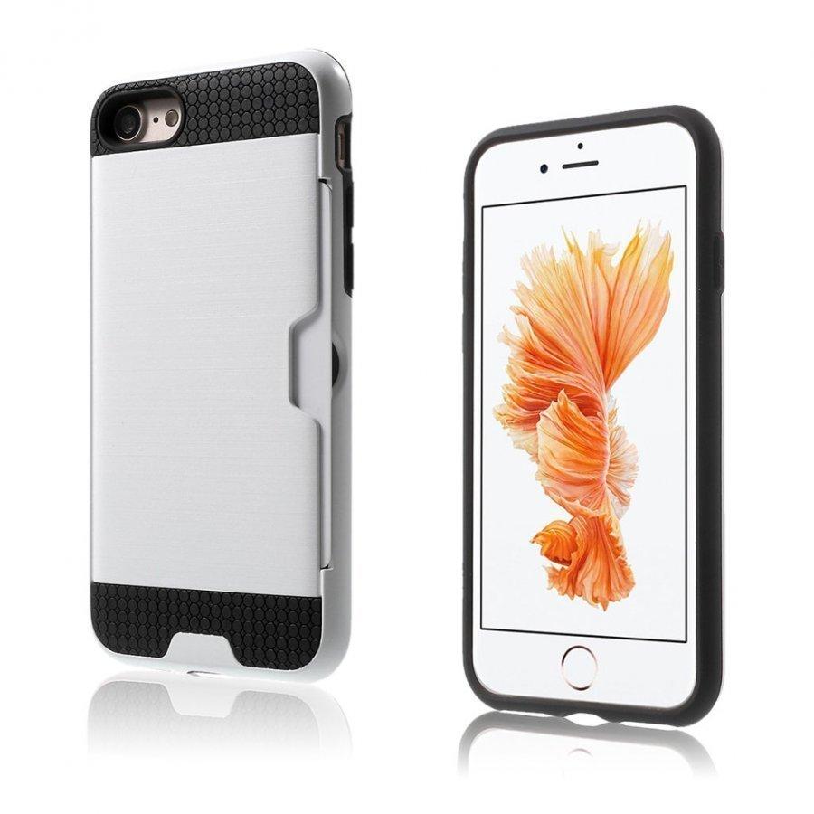 Absalon Iphone 7 Harjattu Joustava Hybridi Kuori Valkoinen