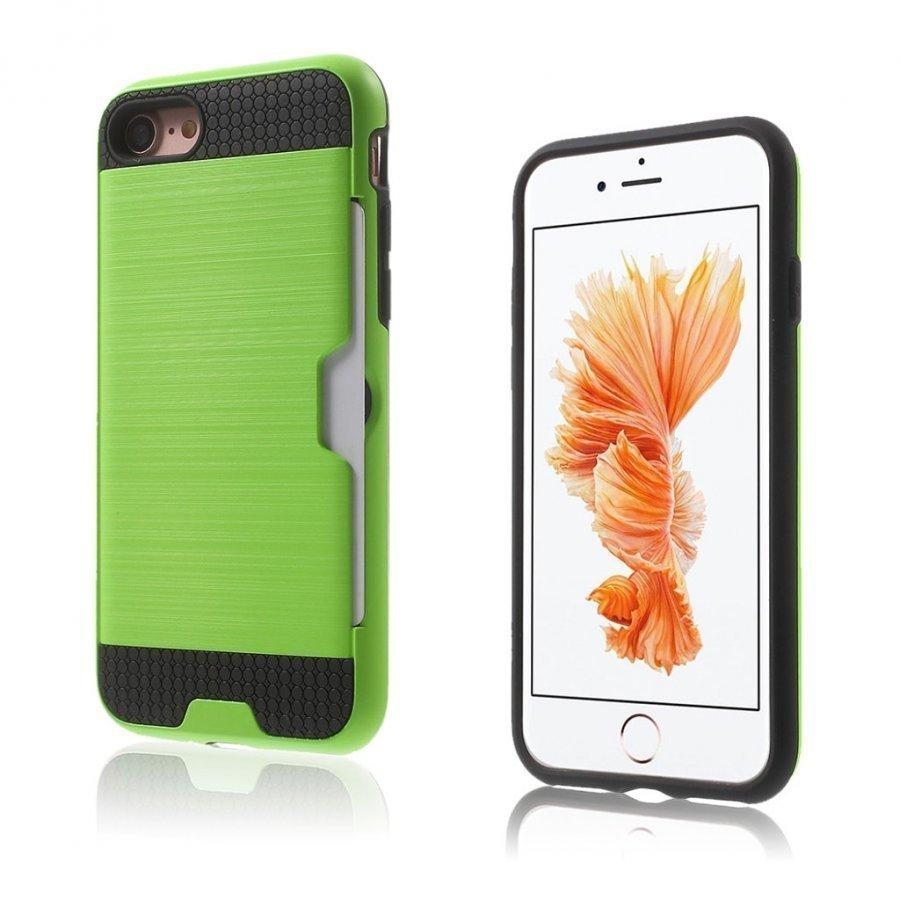 Absalon Iphone 7 Harjattu Joustava Hybridi Kuori Vihreä