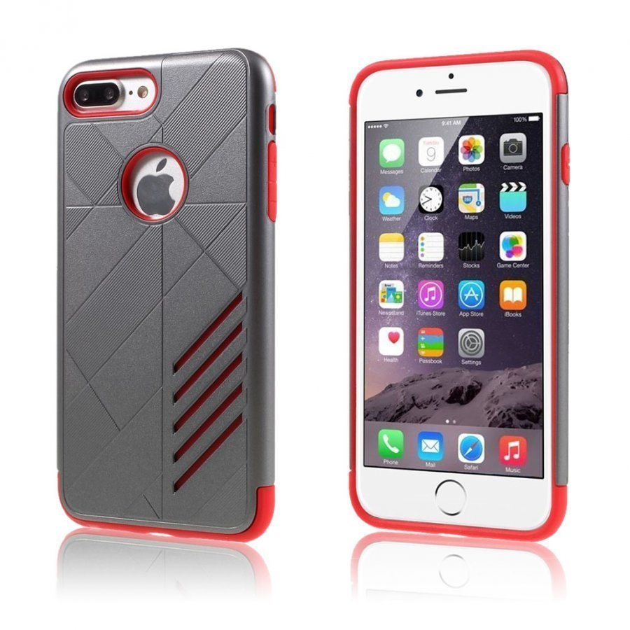 Absalon Iphone 7 Plus Joustava Hybridi Kuori Punainen Ja Harmaa