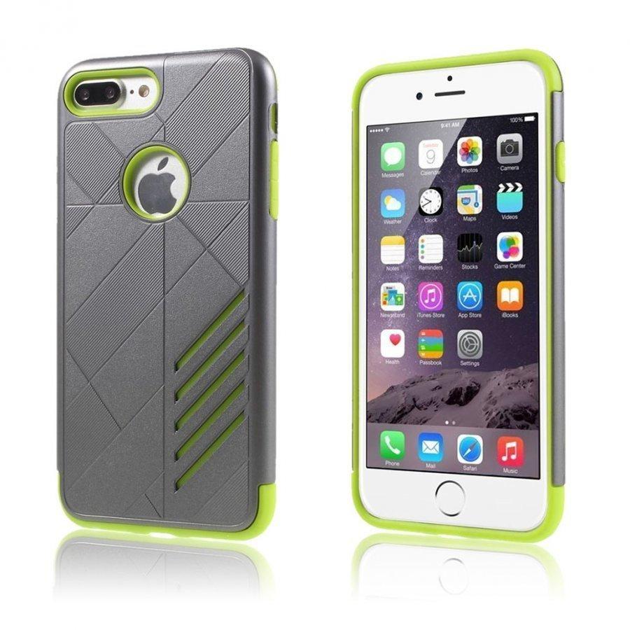 Absalon Iphone 7 Plus Joustava Hybridi Kuori Vihreä Ja Harmaa