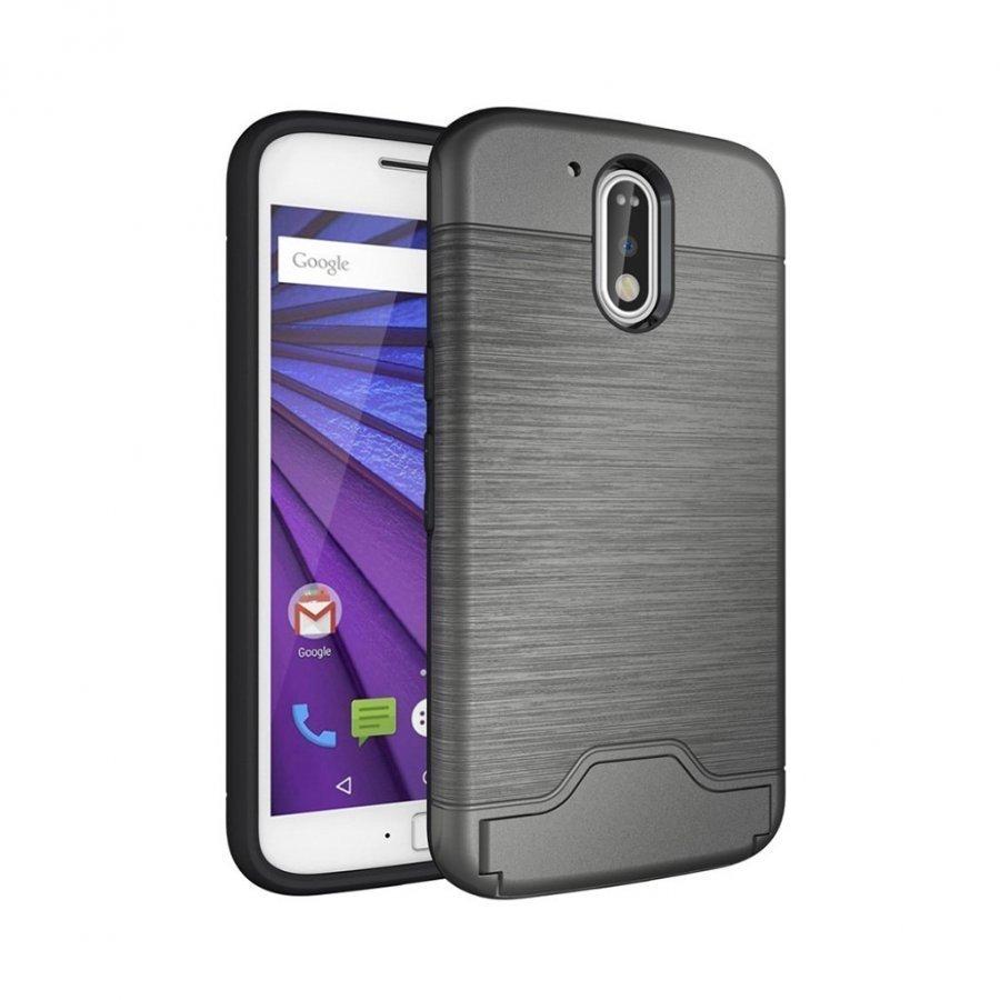 Absalon Motorola Moto G4 / G4 Plus Harjattu Joustava Muovikuori Harmaa