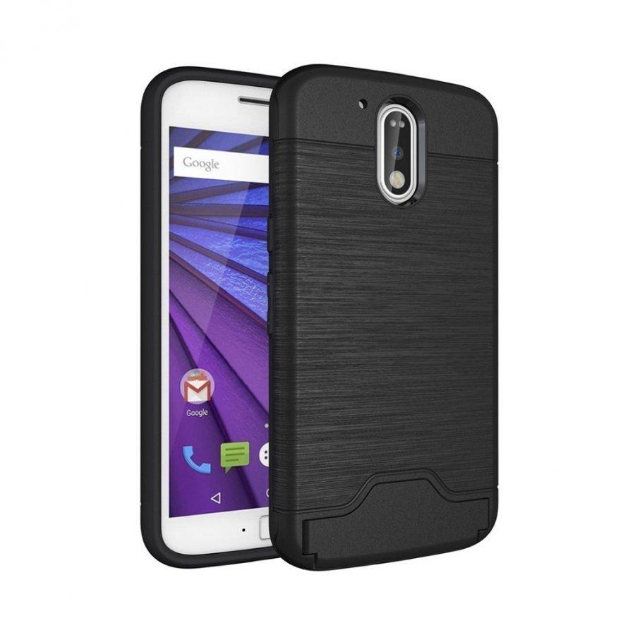 Absalon Motorola Moto G4 / G4 Plus Harjattu Joustava Muovikuori Musta
