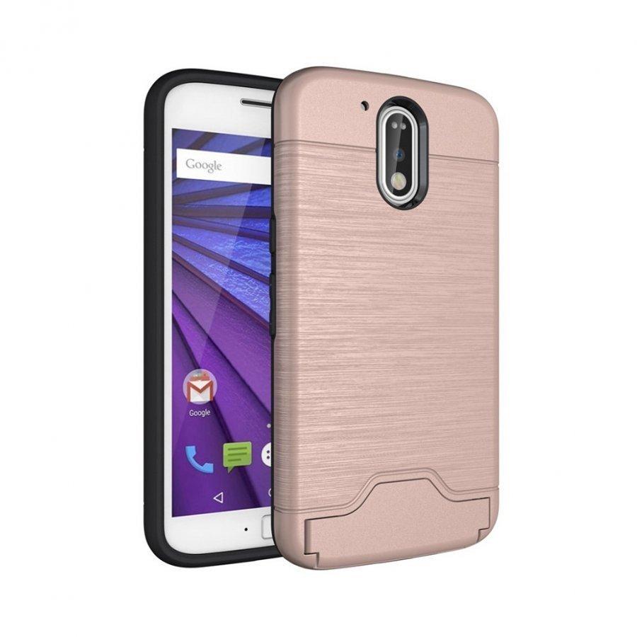 Absalon Motorola Moto G4 / G4 Plus Harjattu Joustava Muovikuori Rosee Kulta