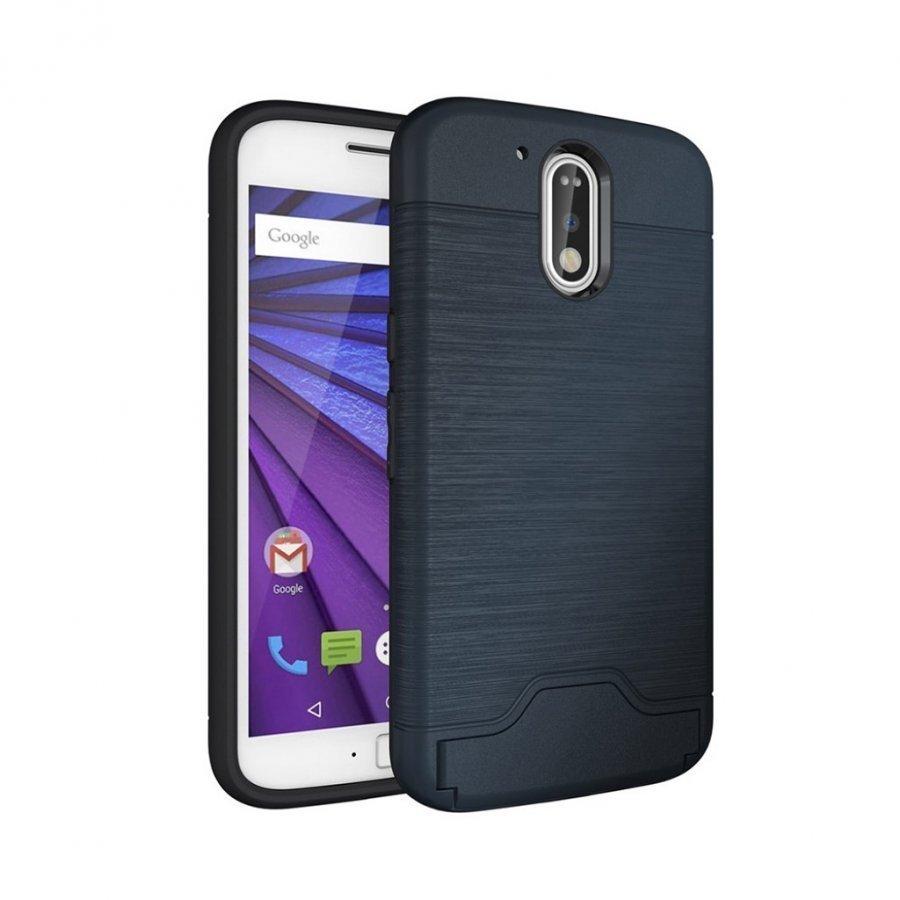 Absalon Motorola Moto G4 / G4 Plus Harjattu Joustava Muovikuori Tummansininen