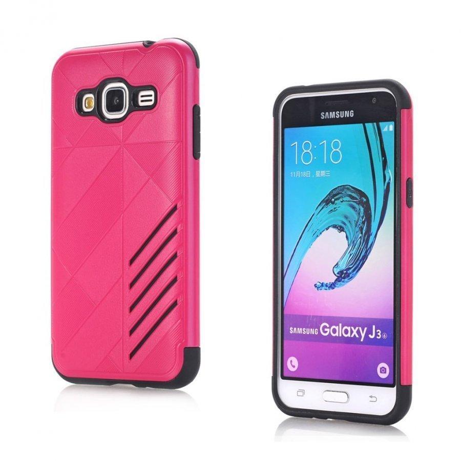 Absalon Samsung Galaxy J3 2016 Joustava Muovikuori Kuuma Pinkki