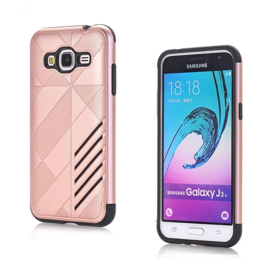Absalon Samsung Galaxy J3 2016 Joustava Muovikuori Rosee Kulta