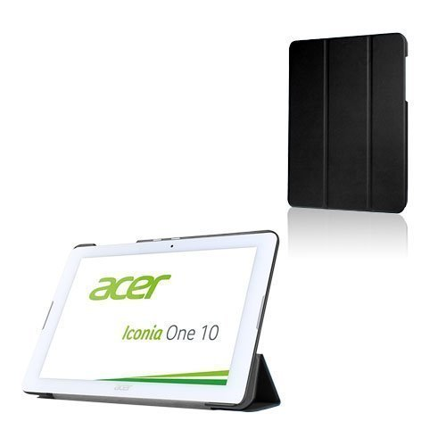 Acer Iconia One 10 B3-A20 Kolmesti Taittuva Nahkakotelo Standillä Musta