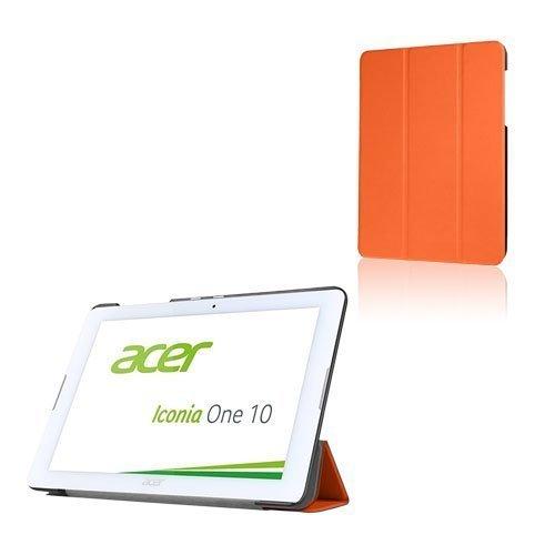 Acer Iconia One 10 B3-A20 Kolmesti Taittuva Nahkakotelo Standillä Oranssi