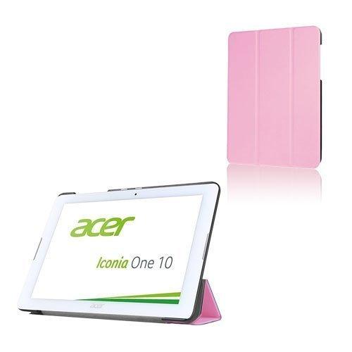 Acer Iconia One 10 B3-A20 Kolmesti Taittuva Nahkakotelo Standillä Pinkki