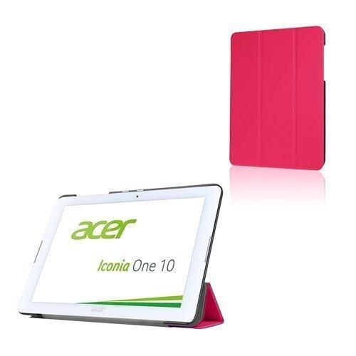 Acer Iconia One 10 B3-A20 Kolmesti Taittuva Nahkakotelo Standillä Rosee
