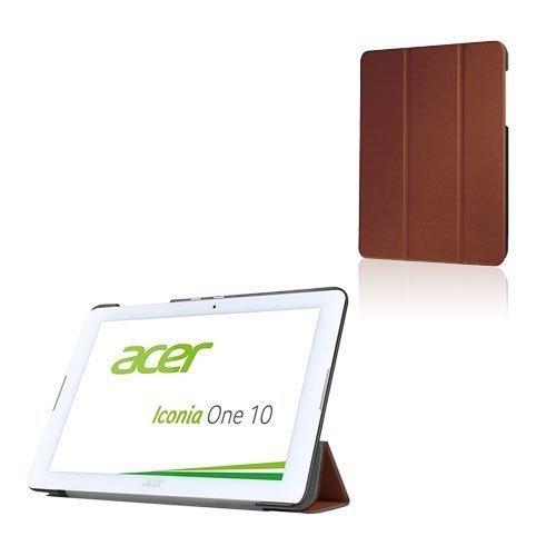 Acer Iconia One 10 B3-A20 Kolmesti Taittuva Nahkakotelo Standillä Ruskea