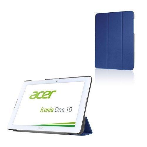 Acer Iconia One 10 B3-A20 Kolmesti Taittuva Nahkakotelo Standillä Tummansininen