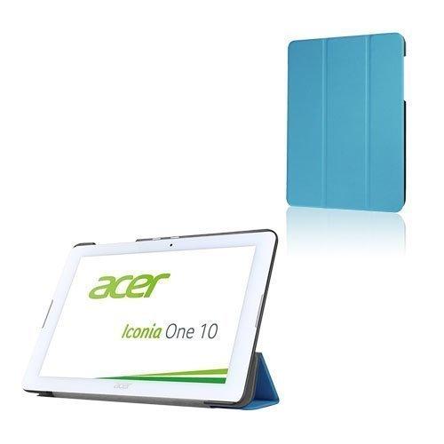 Acer Iconia One 10 B3-A20 Kolmesti Taittuva Nahkakotelo Standillä Vaaleansininen