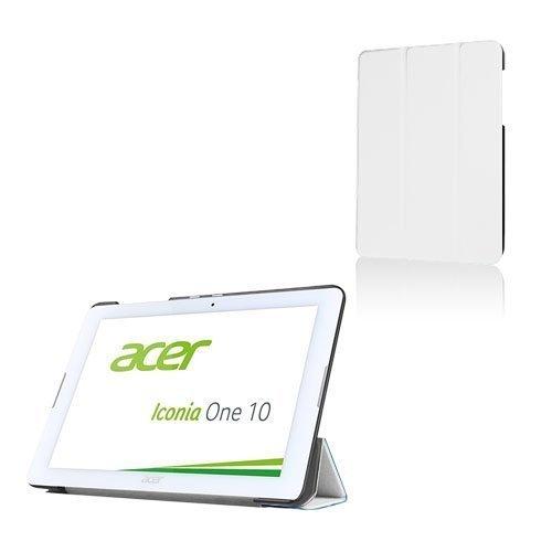 Acer Iconia One 10 B3-A20 Kolmesti Taittuva Nahkakotelo Standillä Valkoinen