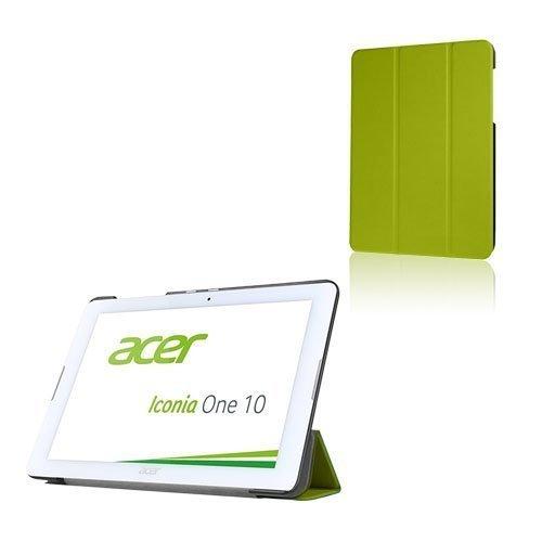 Acer Iconia One 10 B3-A20 Kolmesti Taittuva Nahkakotelo Standillä Vihreä