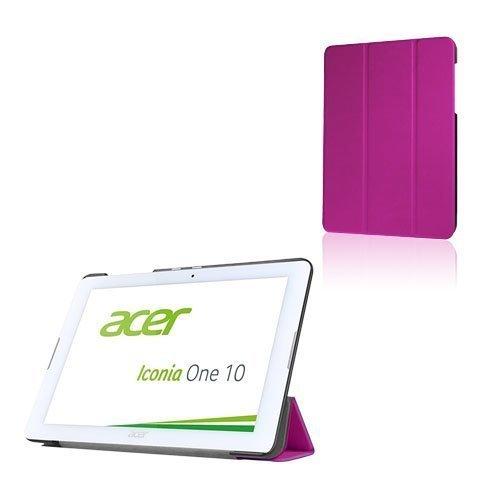 Acer Iconia One 10 B3-A20 Kolmesti Taittuva Nahkakotelo Standillä Violetti