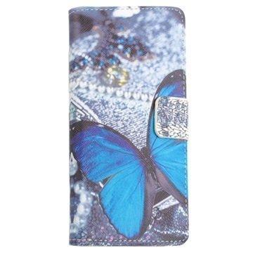 Acer Liquid Z4 Lompakkokotelo Sininen Perhoset